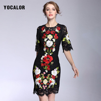 2017 Luxry Spring Lace Embroidery Flower Elegant Women Vintage Bohemia Party Dresses Long Maxi 18th Century