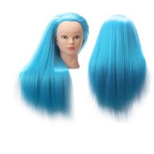 CAMMITEVER Training Head Mannequin Head 50cm Blue Long Straight Hair Styling Practice Manikin Doll Dummy Female Head + Clamp