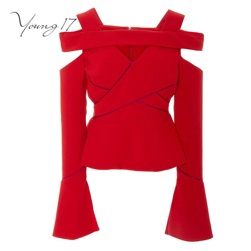 Young17 autumn women blouses hollow backless patchwork zipper red flare sleeve slash neck autumn beauty sexy female women blouse