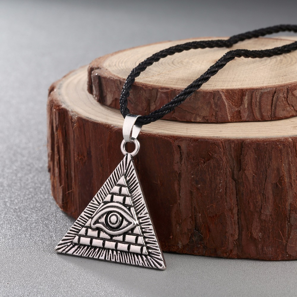 Gold Egyptian Egypt Eye Stainless Steel Pendant Brown Braided Leather Necklace