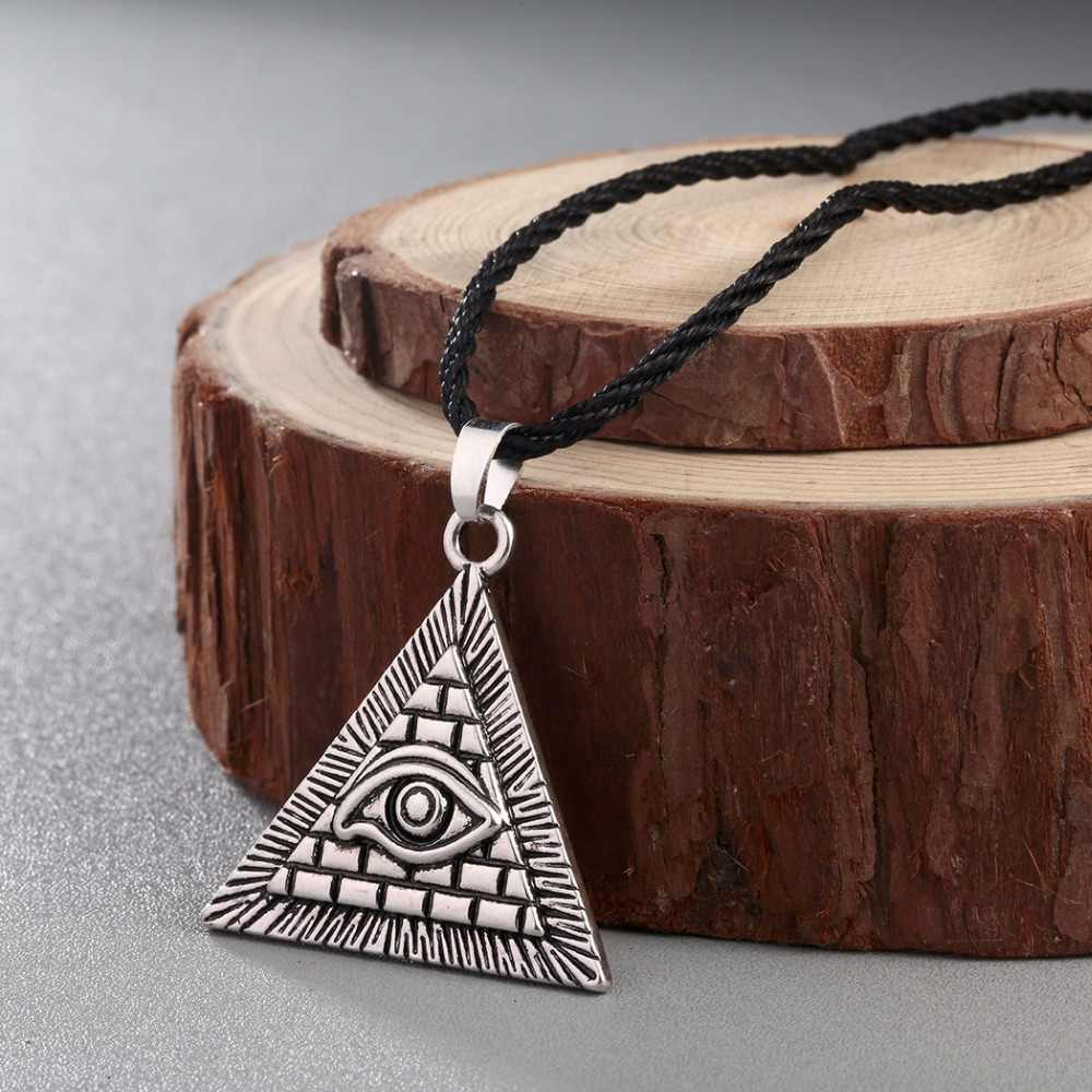 CHENGXUN Egyptian Egypt Pyramid All-Seeing Evil Eye  Charm Pendant Men Necklace Geometric Triangle Collier Male