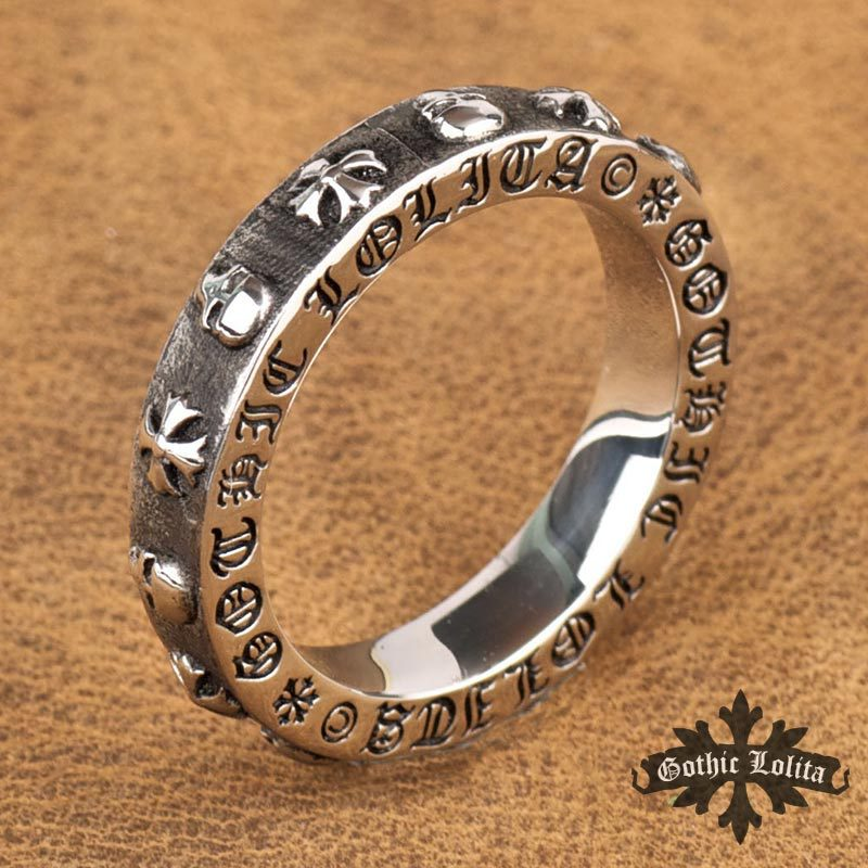 Designer Thumb Vintage Hip-hop Punk skull Stainless steel Roman letter Ring Skeleton Cross for women and men