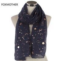 FOXMOTHER 2018 Новая мода темно Звезда Луна Фольга Золотой шарф для женщин рождественские подарки