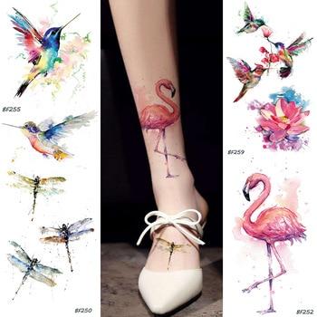 Watercolor Fake Flamingo Temporary Tattoo Stickers HummingBirds Dragonfly Fake Tatoos Waterproof Body Art Arms Tattoo