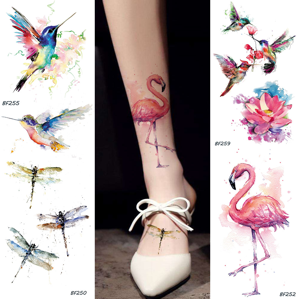Watercolor Fake Flamingo Temporary Tattoo Stickers HummingBirds Dragonfly Fake Tatoos Waterproof Body Art Arms Tattoo