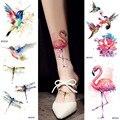 Акварельные временные тату-наклейки с фламинго, стрекоза с колибри, водонепроницаемый боди-арт, татуировка рук