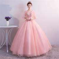 100%real light pink bubble sleeve cosplay ball gown medieval dress Renaissance gown queen Victorian Belle Ball gown