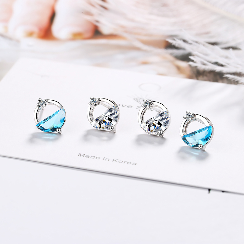 KOFSAC Latest Blue Crystal Semicircle Water Spring Earrings For Girl Jewelry 925 Sterling Silver Earring Lady Party Accessories in Stud Earrings from Jewelry Accessories