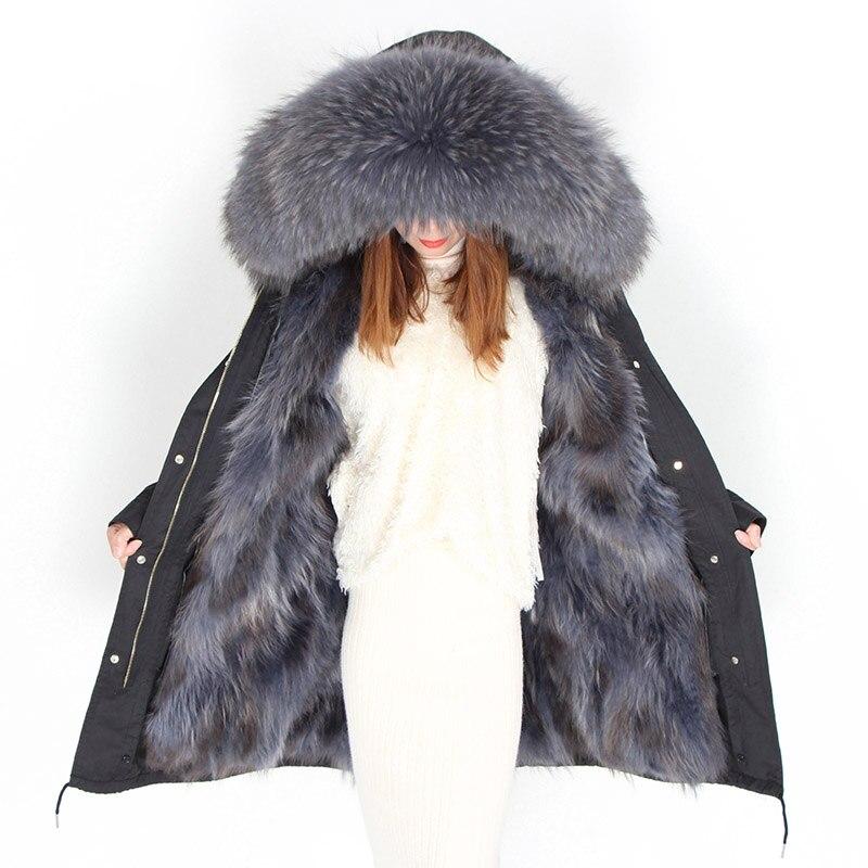Women Winter Real Natural Raccoon Fur Collar Hooded Long Coat Loose Causal Real Fur   Parkas   Mujer Warm Thicken Cotton Jacket