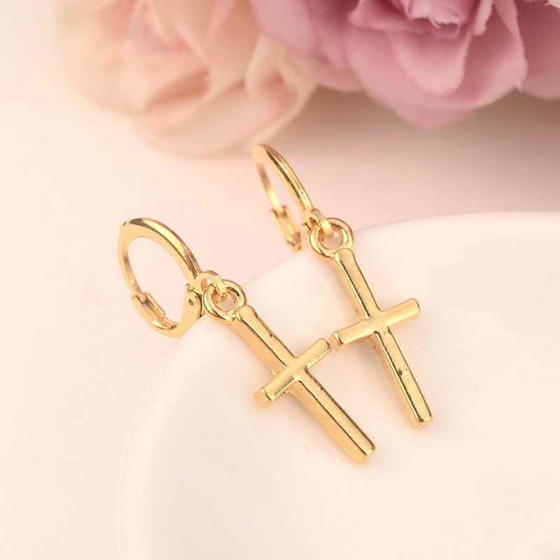 Złoty krzyż spadek kolczyki etiopii/Nigeria/kenia/Ghana złoty kolor dubaj afryki arabski bliski wschód biżuteria mama prezenty