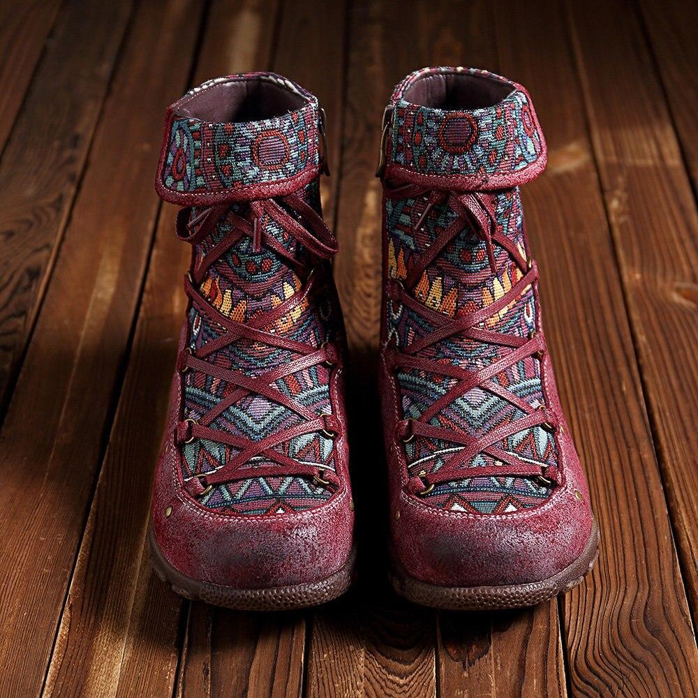 Johnature Vintage 2019 nowy buty do kostki ze skóry naturalnej dla kobiet zima jesienne buty damskie kobieta na zewnątrz płaskie botki w Buty do kostki od Buty na  Grupa 3