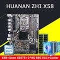 HUANAN Чжи X58 LGA1366 материнской Процессор Xeon X5675 3,06 ГГц с охладитель Оперативная память 16G (2*8G) DDR3 ECC REG