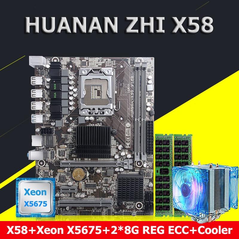 HUANAN ZHI X58 LGA1366 carte mère CPU Xeon X5675 3.06 GHz avec cooler RAM 16G (2*8G) DDR3 REG ECC