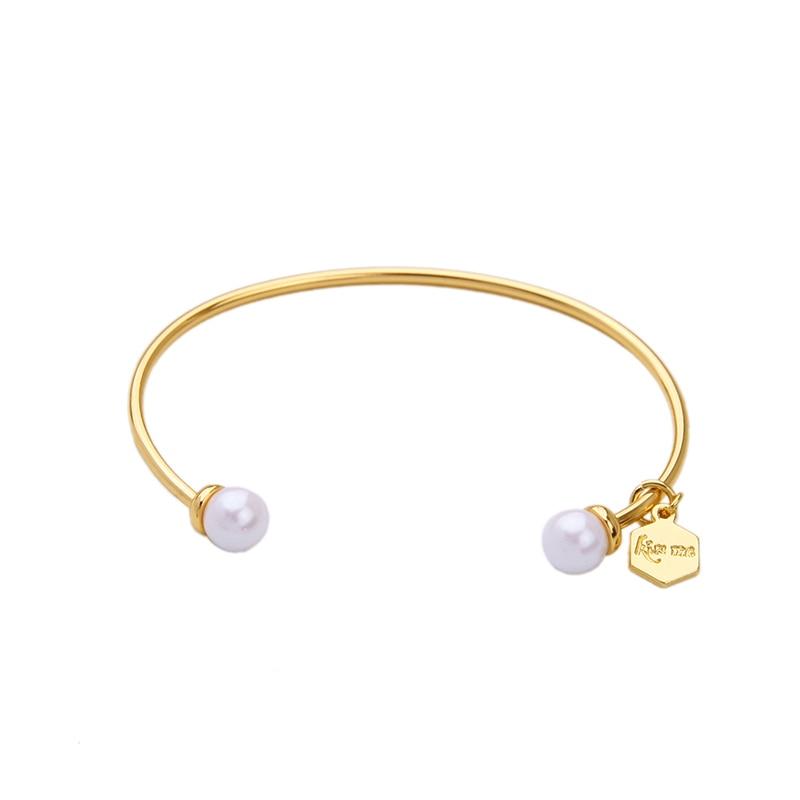 №Joyería personalizada chic simulado perla Brazaletes de puño lindo ...