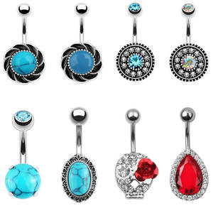New 1PC Steel Belly Button Ring Crystal And Stone Piercing Navel Piercing Navel Earring Belly Piercing Sex Body Jewelry Piercing