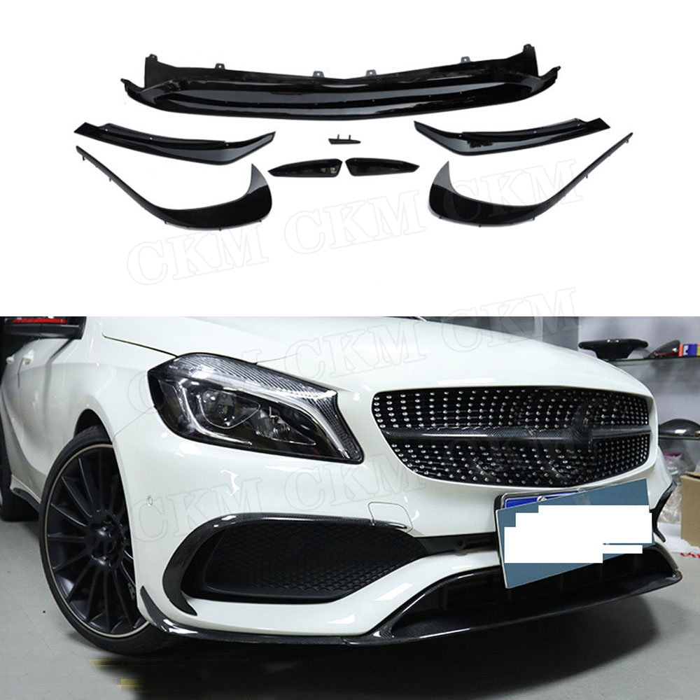 4 Carbon Fiber Canard Duct Winglets Spoiler For Mercedes Benz A-Class W176 AMG