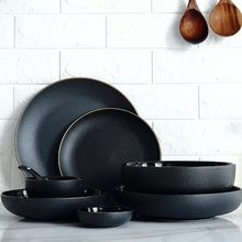 gold edge matte black ceramic accent plate dinner plate soap bowl tableware dinner set недорого