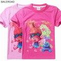 SAILEROAD Trolls 4-11Y Novos Dos Desenhos Animados verão t-shirt t shirt da forma dos miúdos das crianças meninas roupas bonito projeto princesa das meninas da camisa de t