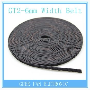 10meter Black Rubber GT2-6mm open timing belt width 6mm GT2 belt  For 3D Printer GT2 Pulley A604