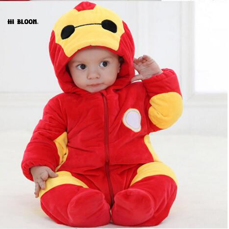 Warm 100 Cotton Baby Clothing Long Sleeve Red Baymax Baby Rompers Winter Thick Baby font b