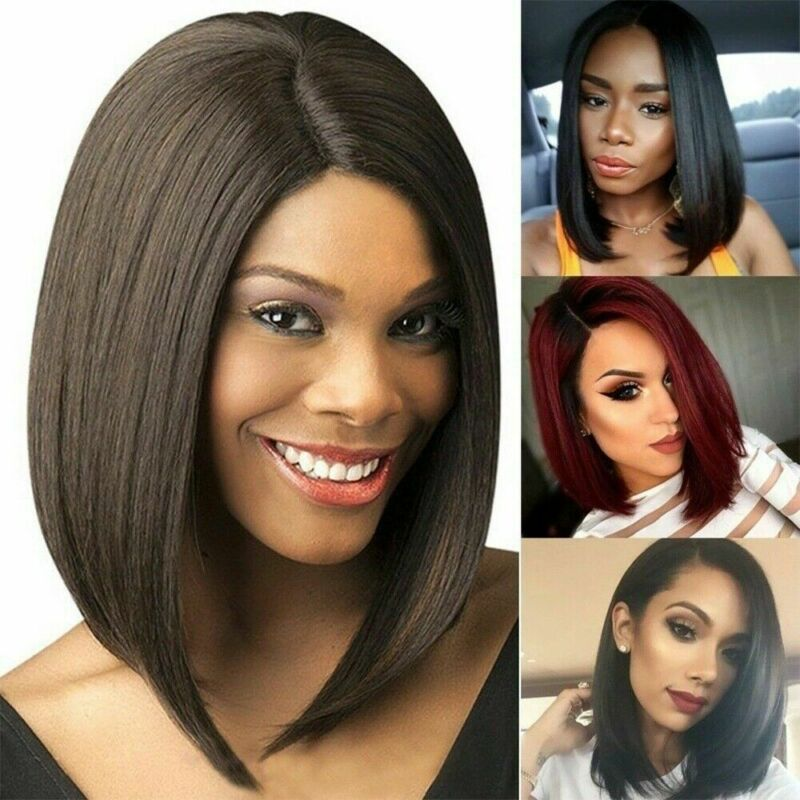 Ladies Synthetic Short Bob Hair Straight Wig Side Part Women Wigs Fashion 2019