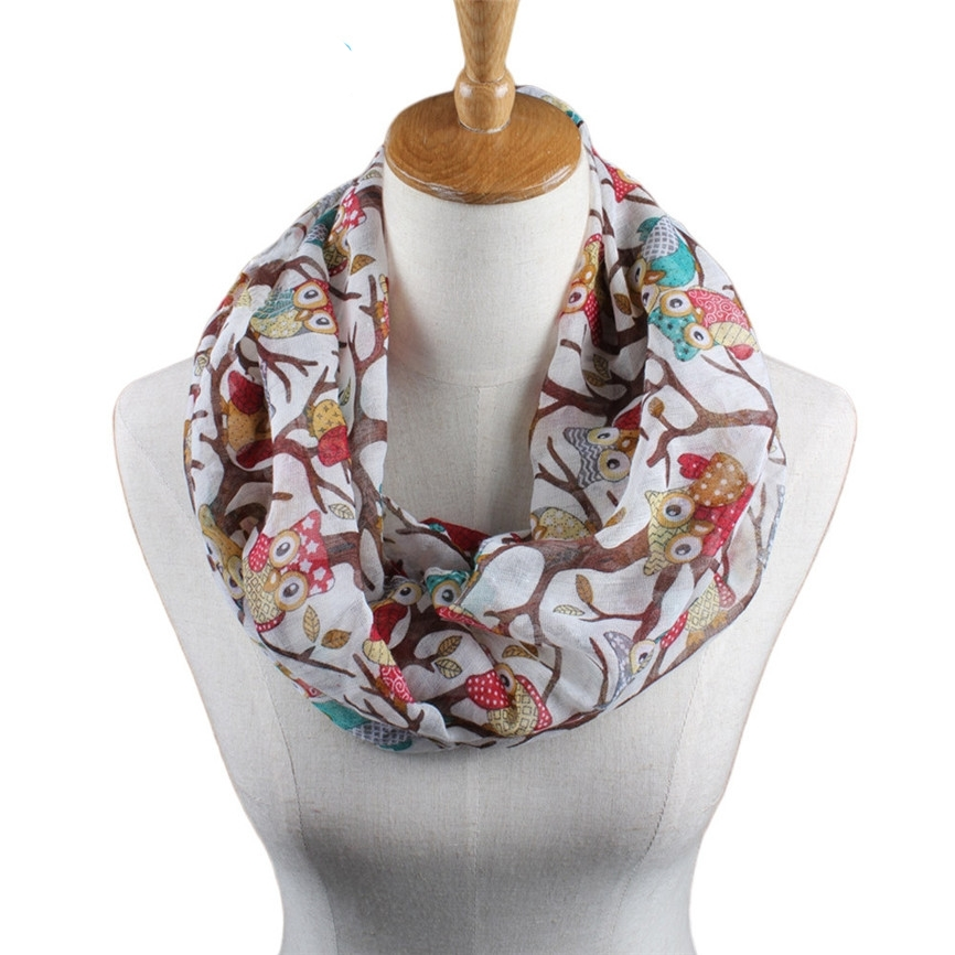 JAYCOSIN New Fashion Women Ladies Owl Cartoon Print Scarf Warm Wrap Shawl O Neck Rings 160405 Drop Shipping JAYCOSIN