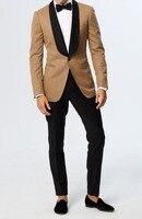 Khaki Brown Wedding Suits For Men Black Shawl Lapel Slim Fit Men Blazer Groom Tuxedos Party Prom Suit Costume Homme Mariage