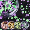 1 Box Fluorescent Paillette Colorful Round Nail Sequins Manicure Nail Art Decoration 24-35