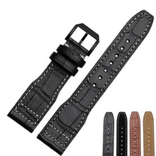 лучшая цена 22mm Generic For IW.C01 First layer Cowhide Leather Crocodile Grain Pin buckle For Any Watch Band Strap Replace + Tools