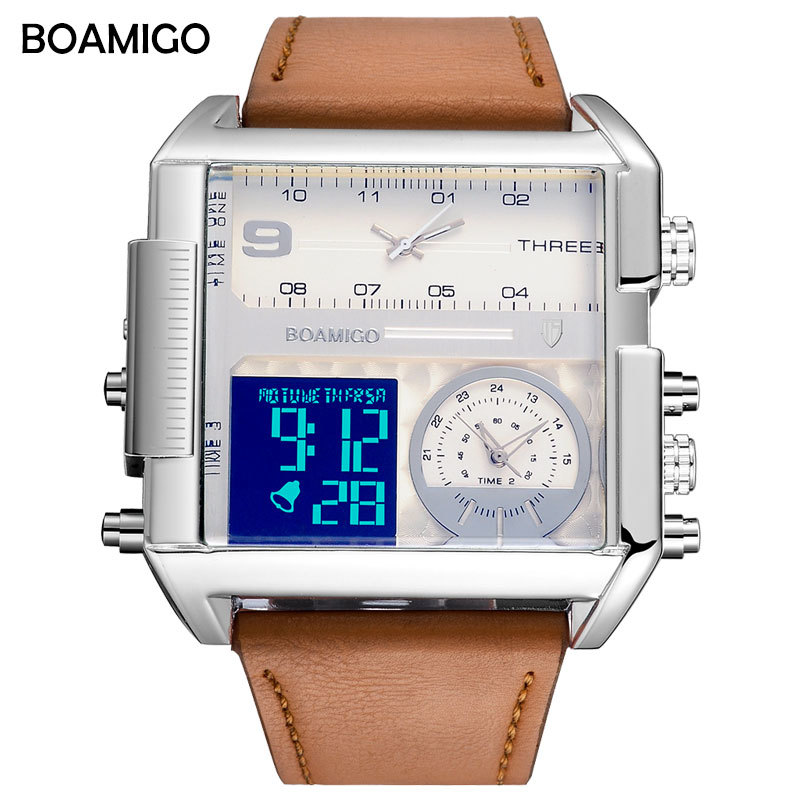 BOAMIGO Men Sports Watches For Men Three Time Zone Military Quartz Digital Watch Brand Square Leather Electronic Wrist Watches цена