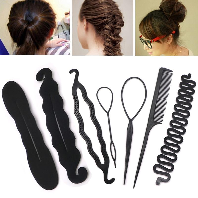 Multic Styles Black Hair Styling Headbands For Women Hair Pin Disk Pull Pins Hair Band Headwear Girls Hair Accessories Bun Maker