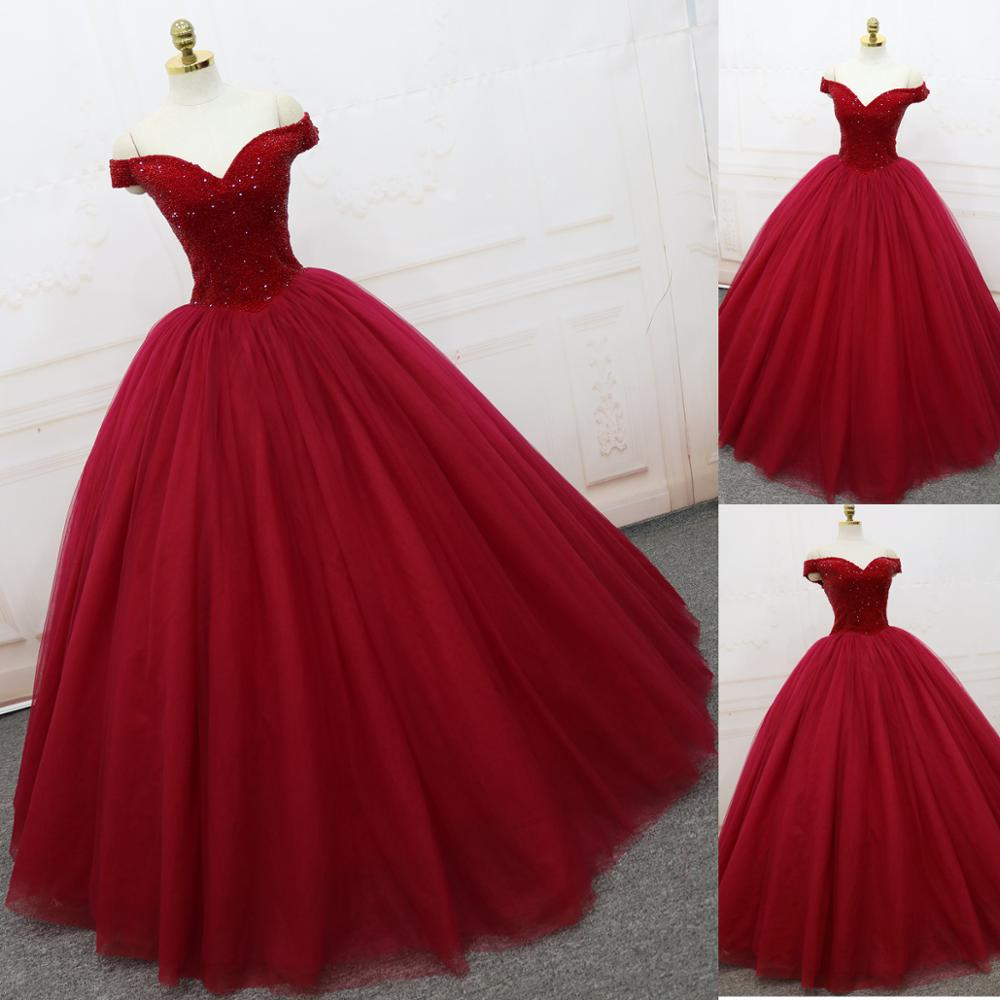 Beauty Emily Wine Red Ball Gown Wedding Dresses 2017 Beads Tulle V ...