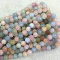 "Genuine AAA de Alta Qualidade Azul Rosa Berilo Aquamarine Morganite Rodada Contas Loose 4-12mm Jóias Fit Colar Pulseiras 15 ""04081"