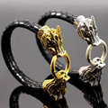 Gold Faux Leather Dragon Wristband Wrist Strap Band Bracelet Cuff Steampunk