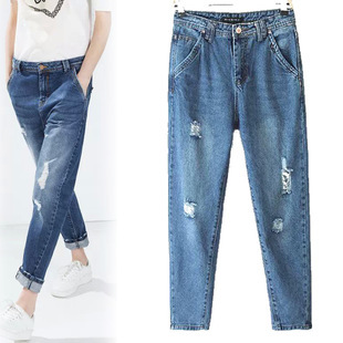 Gorgeous Trousers 2015 ZA Fashion womens classic ripped boyfriend jeans casual pants cut ...