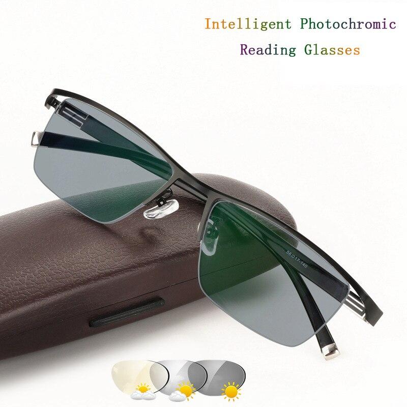Fashion High End Business Spectacles Men's Intelligent Photochromic Reading Glasses Magnifier Semi Rim Frame Glasses UV400 H5