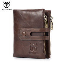BULL CAPTAIN Men Wallets Genuine Leather Short Coin Purse Vintage Mens Wallet Zipper Button Pocket Card Holder Retro