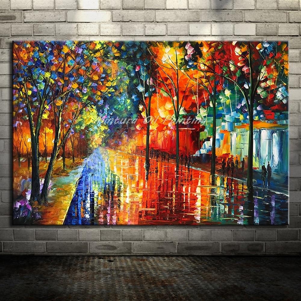 Большой расписанный вручную любовник дождь уличное дерево лампа пейзаж картина маслом на холсте настенные художественные настенные картины для гостиной домашний декор - Цвет: HY142213