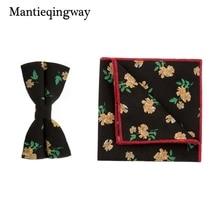 Mantieqingway Vintage Floral Bowtie Men Suits Wedding Dress Bow Tie Pocket Square Handkerchief Ties Sets for Men Bowknots Cravat