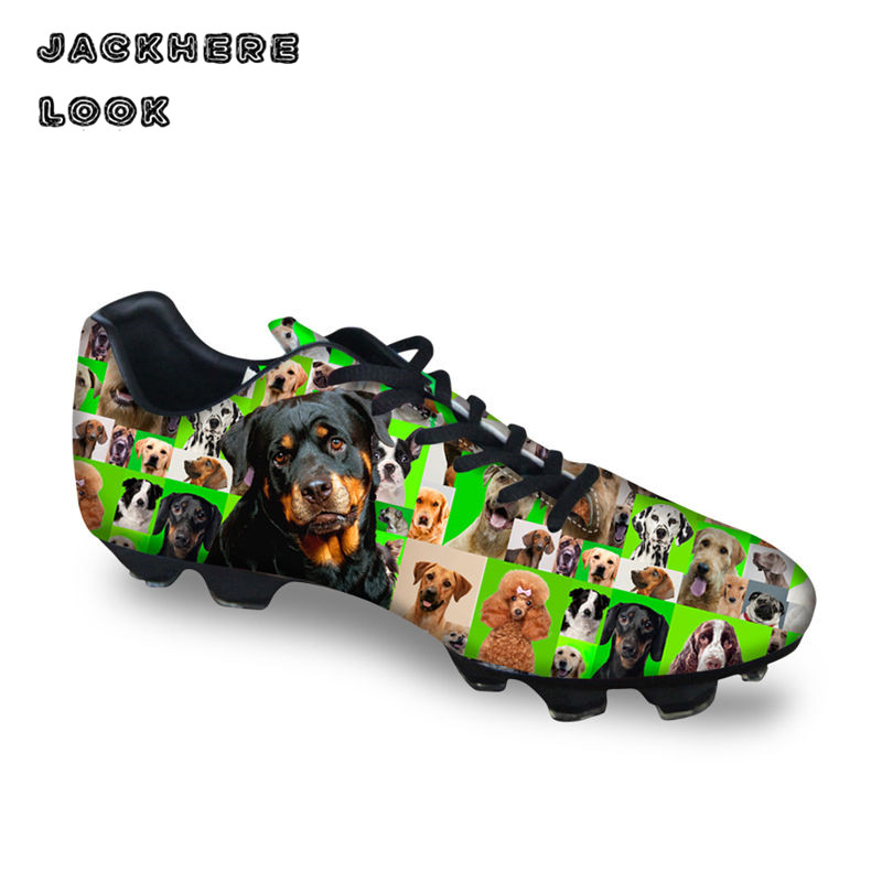 JACKHERELOOK Cute Pet Pug Dog Pattern Men Soccer Football Shoes High Quality Shoes for Boys Gift Present for Birthday Festival tiebao a13135 men tf soccer shoes outdoor lawn unisex soccer boots turf training football boots lace up football shoes