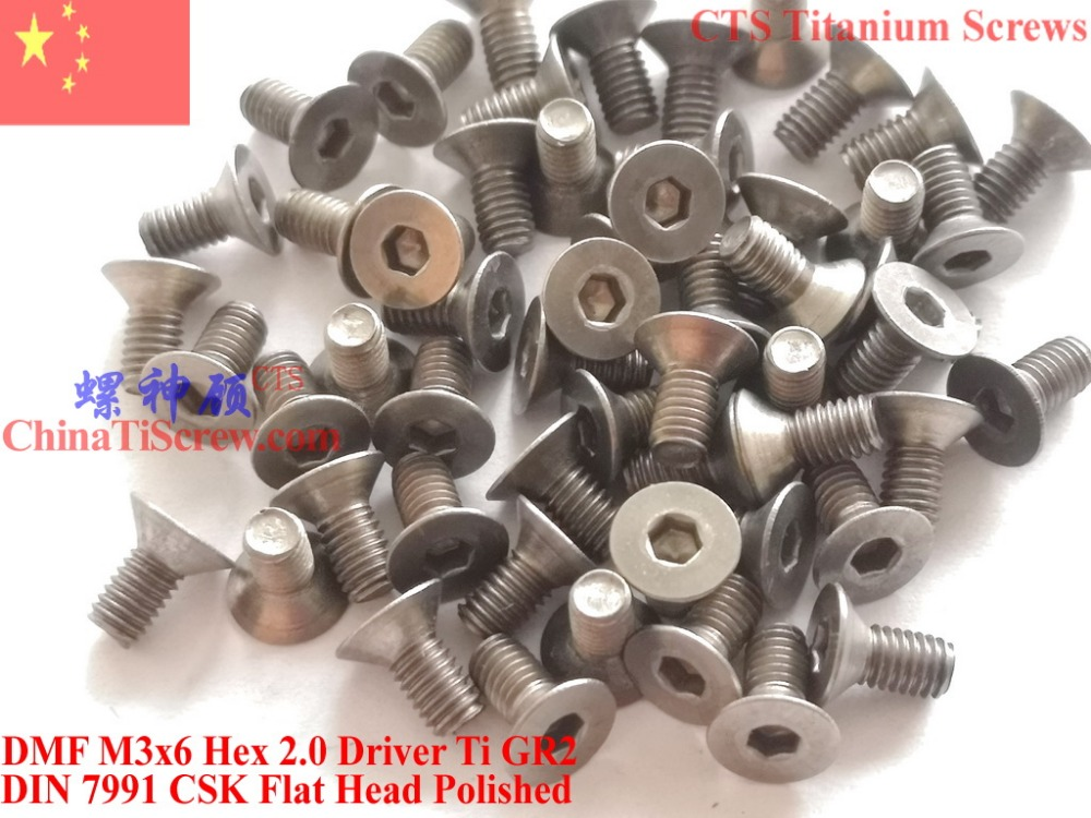 Titanium screw M3X6 DIN 7991 Flat Head Hex 2.0 Driver Ti GR2 Polished 50 pcs 20pcs m3 6 m3 x 6mm aluminum anodized hex socket button head screw