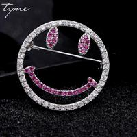 Tyme Fashion Lovely Rhinestone Pin Brooch Smiley Brooches For Women Full Crystals Broches Scarf Pins Coat