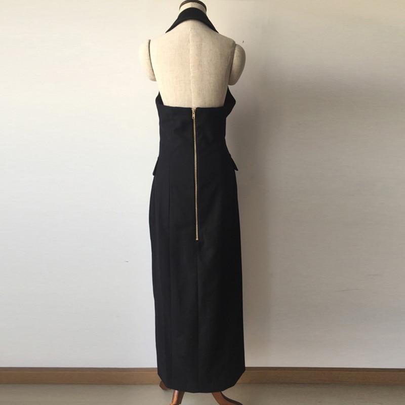 Cou Boutons Paris Breasted Robe Nu Halter De Mode Nouveau Lion Femmes Double Dos Fente Designer 0fRxWw