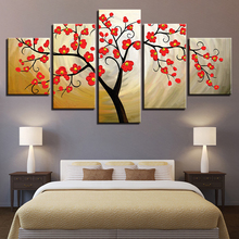 Canvas Poster Modular Living Room Wall Art 5 Pieces Red Plum Blossom Tree Painting Home Decor HD Print Flower Pictures Framework