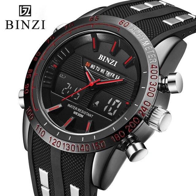 Binzi часы Для мужчин Часы Спорт на открытом воздухе Военная Униформа кварц Relogio masculino Водонепроницаемый мужской часы 2018 лучший бренд класса люкс черный xfcs