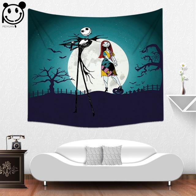 PEIYUAN Wall Hanging Tapestry Happy Halloween Terrible Mummy Zombie Glowing Eyes Cartoon Ghost Death Blanket