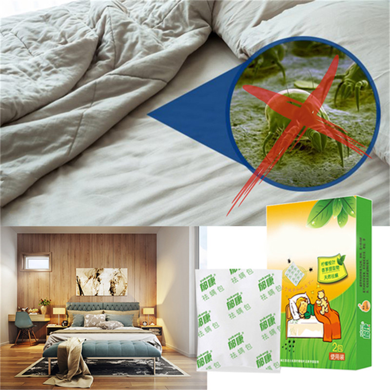 2019  New 2 Packs Herbal Dust Mite Eliminator Mite Remover Reduces Acne & Itching Safe For Use On Bed Sheets Mattresses Pillow