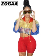 Streetwear Two Piece Set Women's Costumes Contrast Color Hooded Crop Top and Skinny Shorts Female Suits Autumn Sweatsuits ZOGAA men contrast tape hooded top with shorts