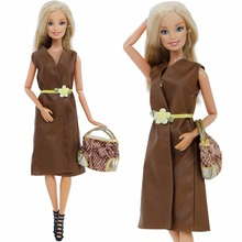 3 Pcs/Set Fashion Outfit Coat Brown Dress Belt + Mini Handbag + High Heels Shoes Clothes