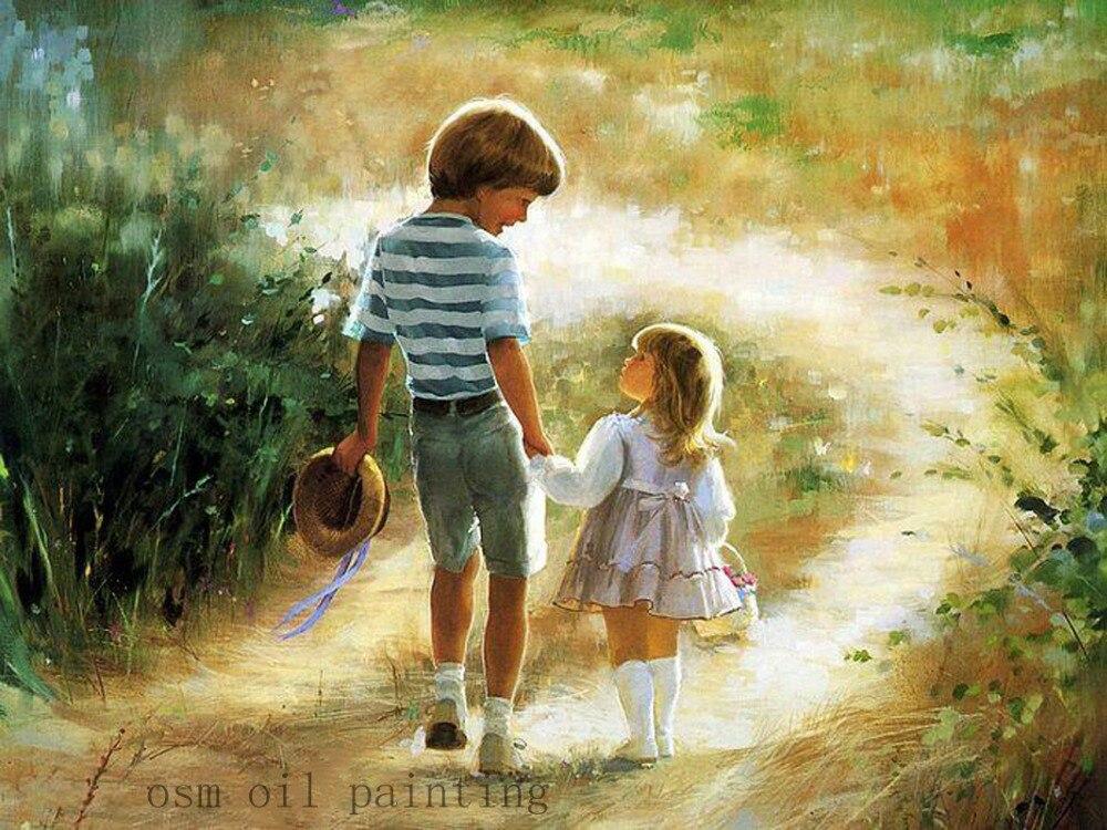 Индивидуальные арт Подарки 100% ручной работы Borther и маленькая сестренка ходьба в стране дорога картина маслом на холсте Пейзаж